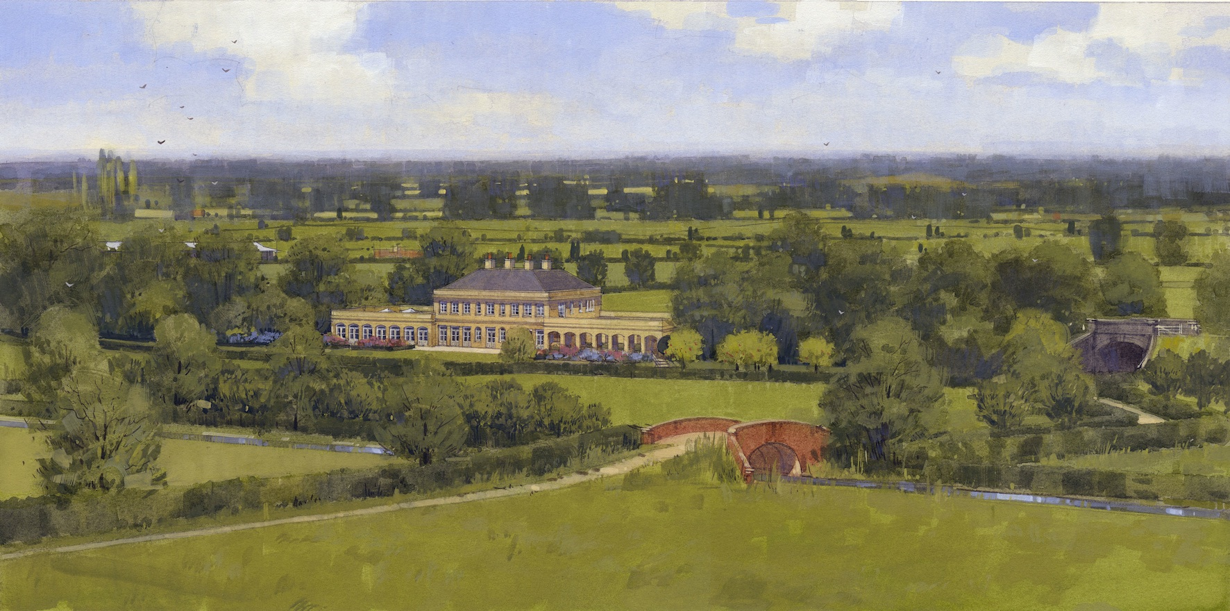 image101 colvin & moggridge innovative placement of new classical country,Planning Permission For New House