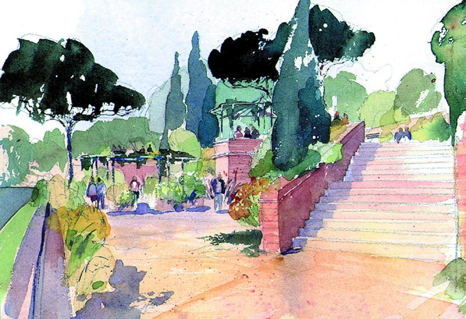 Leeds steps watercolour